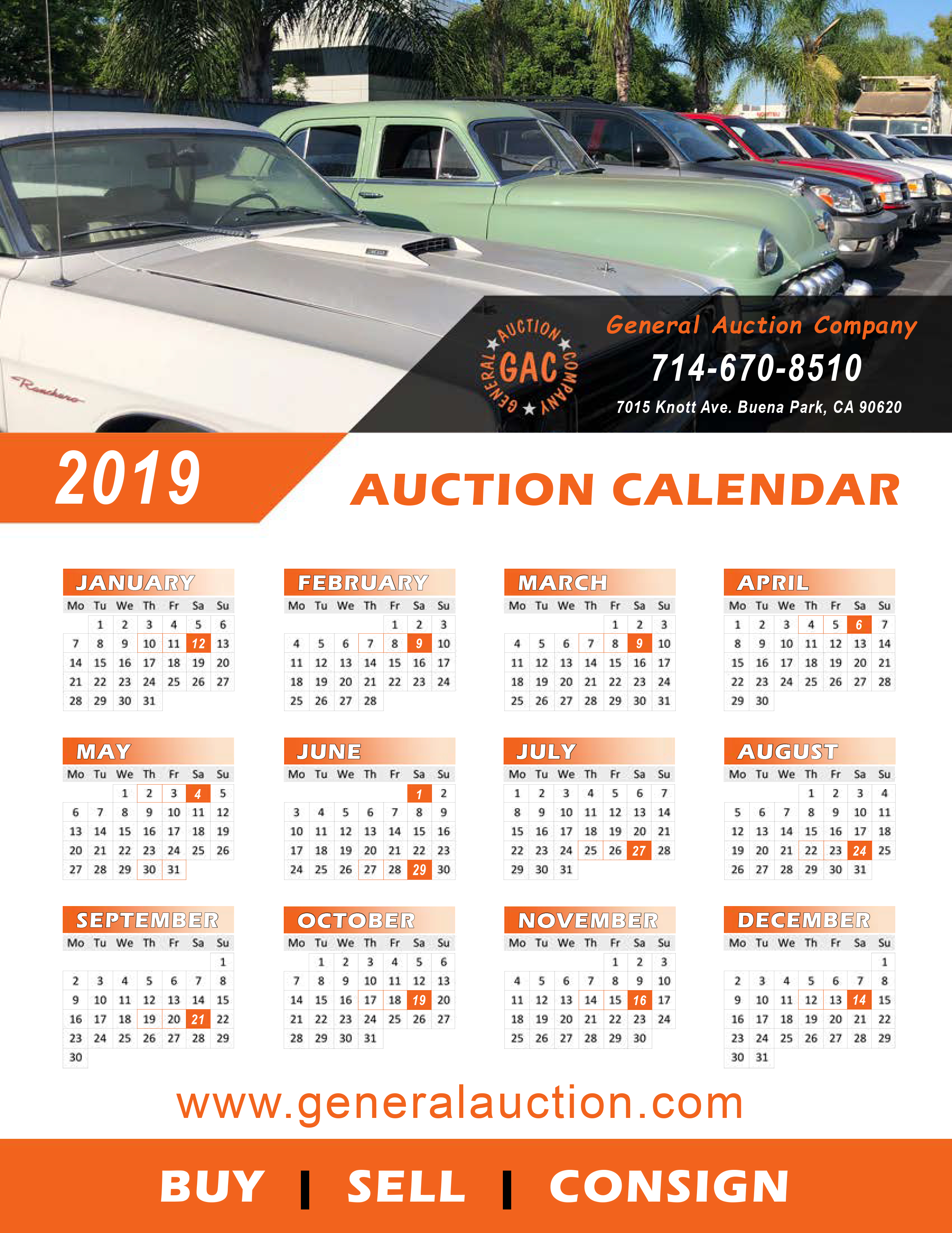 General Auction Calendar